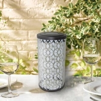 Image Frosted Fretwork Cylinder Solar Lantern 3022WRM1