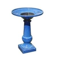 Image Athena Ceramic Solar-On-Demand Glazed Blue Birdbath
